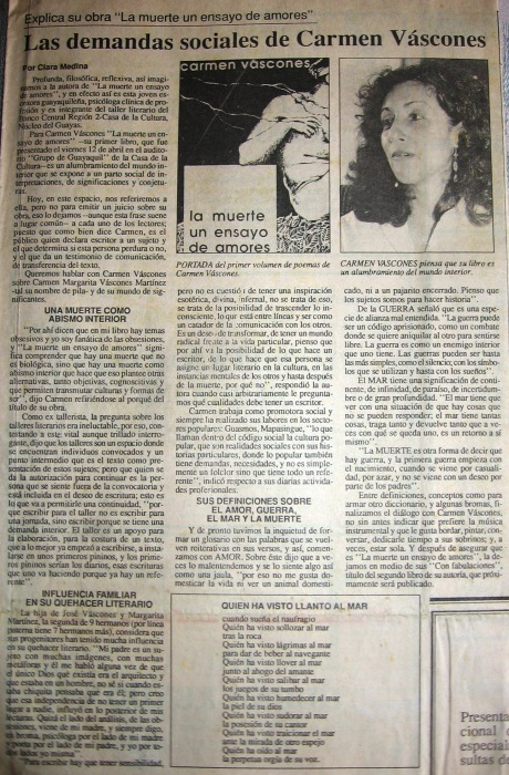 La Muerte un Ensayo de Amores, El Telégrafo, 21 de avril de 1991