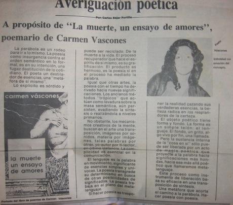 La Muerte un Ensayo de Amores, Meridiano, 7 de avril de 1991