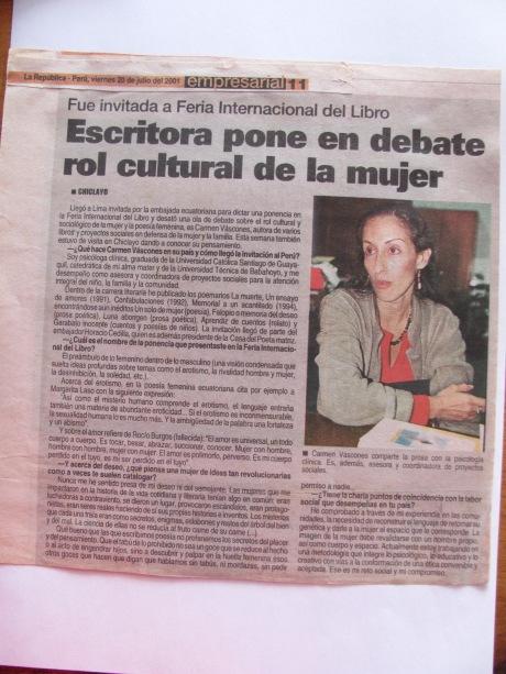diario la república, chiclayo, 2001 entrevista a carmen váscones