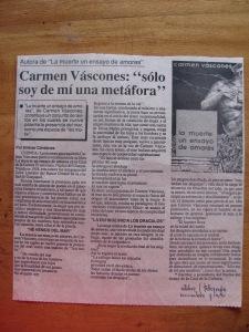 """sobre libro la """"muerte un ensayo de amores"""" de carmen vàscones"""