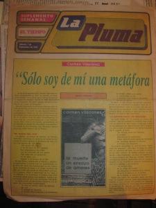 diario el tiempo, cuenca, la pluma,  7 de septiembre de 1991, entrevista a carmen vàscones por eliècer càrdenas