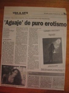libro aguaje decarmen vàscones, diario el telegrafo, 20 noviembre de 1992, cultural 3/b