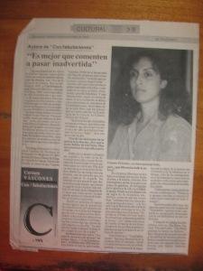 diario el telegrafo, 20 de noviembre de 1992, cultural 3-b, entrevista a carmen vàscones