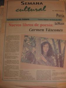 carmen vàscones, diario el tiempo, suplmento la pluma, 7 de enero de 1995, cuenca,  entrevista