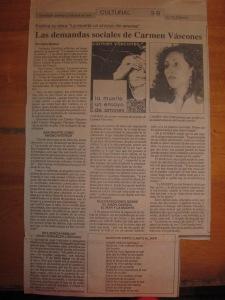 diario el telgrafo, 21 de abril de 1991, cultural 3-B, entrevista a carmen vàscones, libro la muerte un ensayo de amores