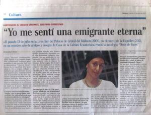 carmen vascones oasis de voces,   me senti una emigrante eternavoces,  diario el telégrafo 20 de julio del 2012