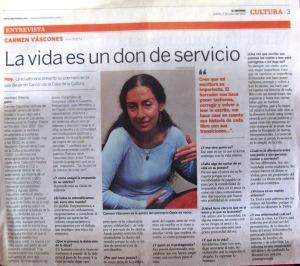 carmen vàscones libro oasis de voce3s, diario el universo el 7 de junio de 2012, la vida es un don de servicio