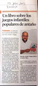 germàn aratieta vargas, un libro sobre los juegos infantiles, diario el universo, 13 de julio del 2012