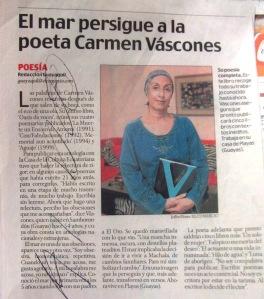 carmen vàscones, oàsis de voces, el mar persigue a la poeta, diario el comercio el 21 de julio del 2012