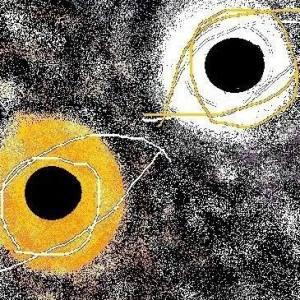 Carmen vàscones y su dibujo ojos del día y la noche 2015