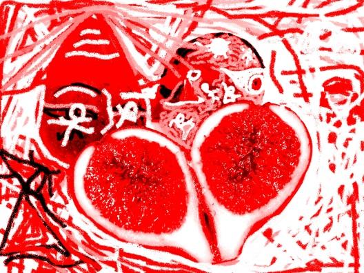carmen váscones y dibujo sonajas rojas del camino al higo, partido se nota su preocupación por el oásis...