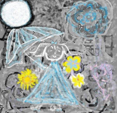 carmen vásconesy su dibujo girasol, flores silvestre y paraguas en las manos de pepita bajo la mirada de la luna